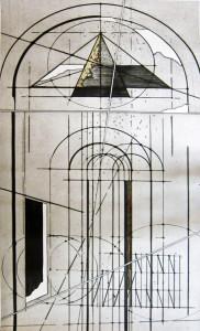 """Mostre: acquaforte di Walter Valentini """"La porta del tempo"""", esposta al Mam's di Sassoferrato a Palazzo degli Scalzi"""