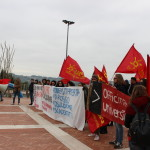 immmagini dle presidio tenuto la mattiba di venerdì 17 novembre dagli studenti universitari sotto Palazzo Leopardi, sede della Regione Marche
