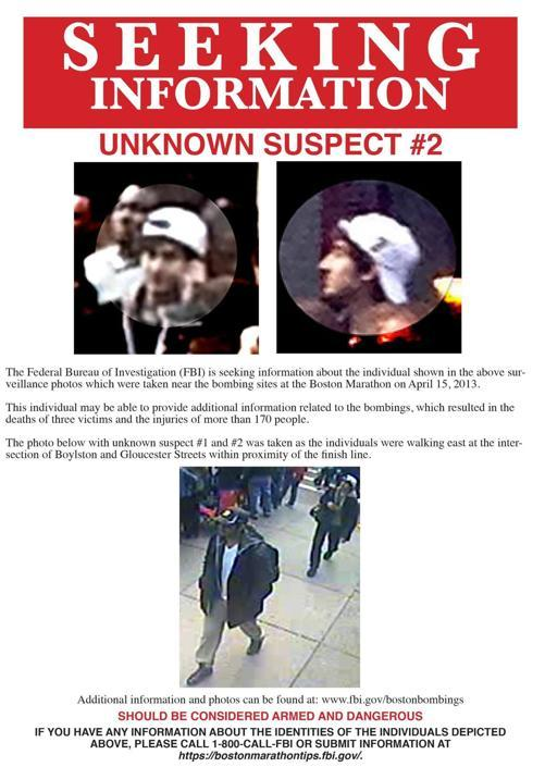 Wanted poster showing the suspects in the Boston Marathon Bombing